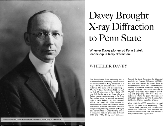 Wheeler Davey Brought X-Ray Diffraction to Penn State