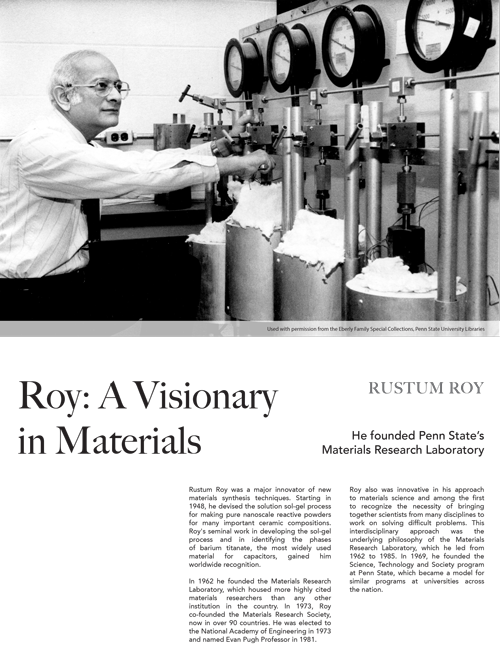 History | The history of materials research at Penn State is